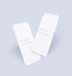 Clay smartphone mockup set realistic 3d mobile vector
