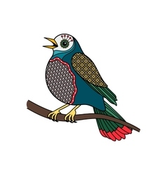 colored bird with floral pattern vector image