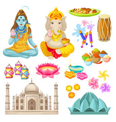 Colorful indian culture elements set vector