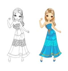 Coloring Book Of Boho Girl vector image