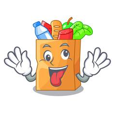 Crazy food bag foil or paper cartoon vector