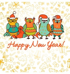 cute christmas background with funny owls vector image