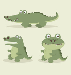 cute crocodile cartoon set vector image