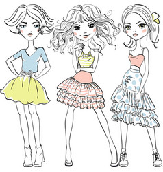 Cute fashion girls in t-shirts and skirts vector
