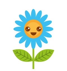 cute happy kawaii flower decoration cartoon vector image