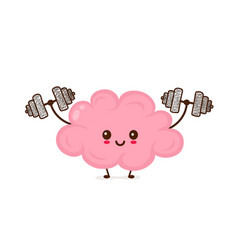 Cute smiling happy funny brain vector