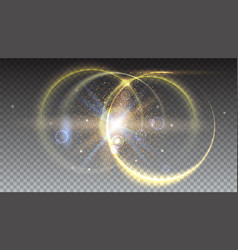 digital light rays and lens flare on transparent vector image
