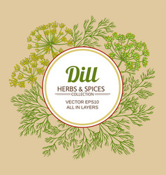Dill plant frame on color background vector