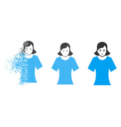 dust pixelated halftone female icon with face vector image
