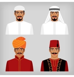Eastern men in traditional clothes vector image