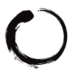 Enso zen circle brush black ink vector