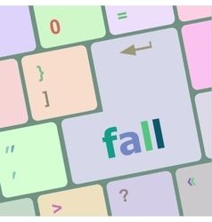 Fall button on computer pc keyboard key vector