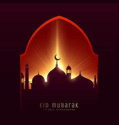 Festival greeting for muslim eid mubarak with vector