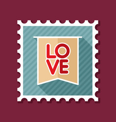 flag with inscription love stamp vector image