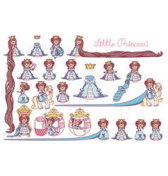 Flat little princess set vector