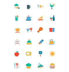 Food and Drinks Colored Icons 1 vector