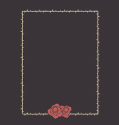 frame of thorns with two roses on its bottom vector image