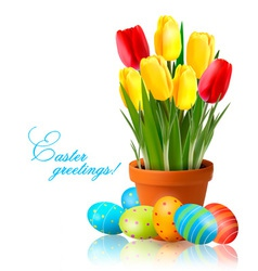 Fresh spring flowers with easter eggs vector