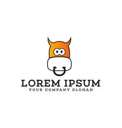 Funny cow logo animals logo design concept vector