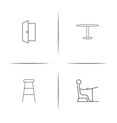 furniture simple linear icon setsimple outline vector image vector image