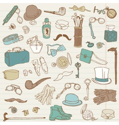 Gentlemens Accessories doodle collection vector