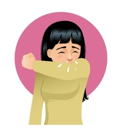 Girl sneezing in elbow image vector