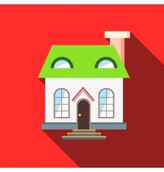 Green roof house icon flat style vector