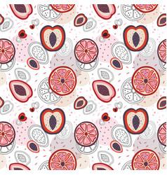 half cut fruit slices pattern in cartoon vector image