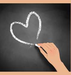 Hand drawing heart with chalk vector