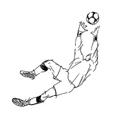 Hand sketch soccer goalkeeper vector image