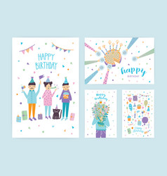Happy birthday cards set collection of cartoon vector