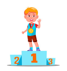 happy children on a sports pedestal with gold vector image