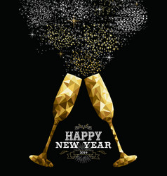 happy new year 2019 toast glass low polygon gold vector image