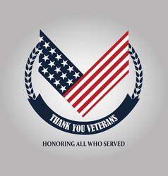 Happy veterans day american flag national emblem vector
