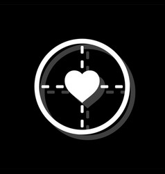 Hearth with crosshair icon flat vector