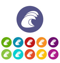 High ocean waves icon simple style vector