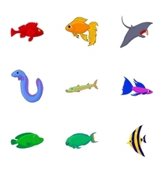 Inhabitants of sea icons set cartoon style vector image