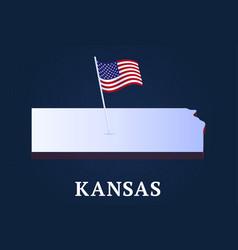 kansas state isometric map and usa national flag vector image