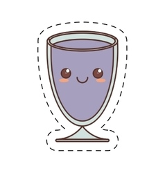 Kawaii cup glass crystal drink cut line vector