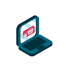 Laptop order online shopping isometric icon vector