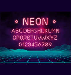 Light neon font letter set bar sign type vector