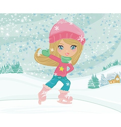 Little girl on skates on winter rural landscape vector