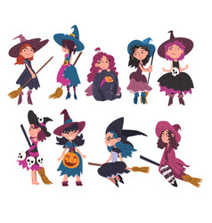 lovely little witches collection cute girls vector image