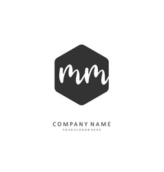 m mm initial letter handwriting and signature vector image