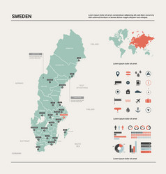 Map sweden country map with division cities vector