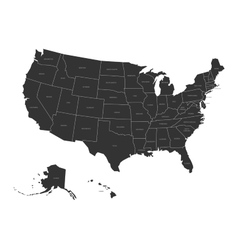 Map usa with state names vector