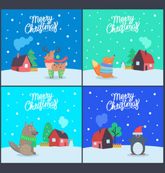 merry christmas animals and greeting set vector image