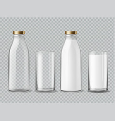 milk bottle and glass empty and full milk vector image