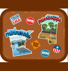 Minnesota mississippi travel stickers vector