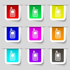 Mobile phone icon sign Set of multicolored modern vector image